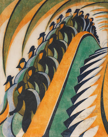 Cyril Edward Power (British, London 1872-1951) Whence & Whither? Linocut printed in Chinese orange, viridian, permanent blue and dark blue, c.1930, on buff oriental laid tissue, signed, titled and numbered 16/50 in pencil, with margins, 310 x 240mm (12 1/8 x 9 3/8in)(B)