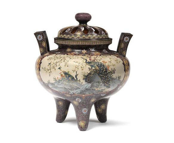 A fine cloisonné koro (incense burner) and cover Nagoya Workshop, Meiji Period