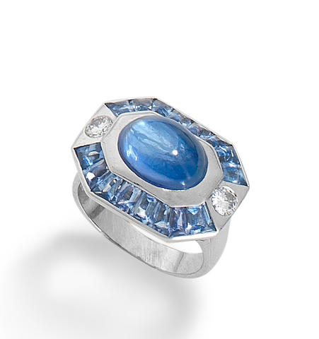 A sapphire and diamond ring, by Chanel
