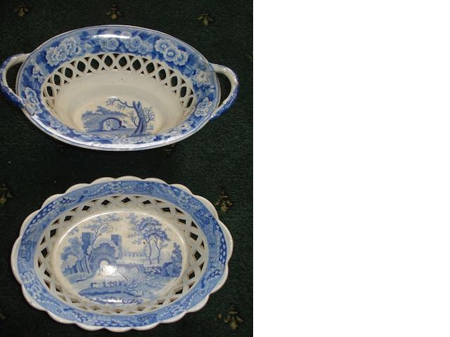 A large collection of transfer printed blue and white china 19th and 20th Century,