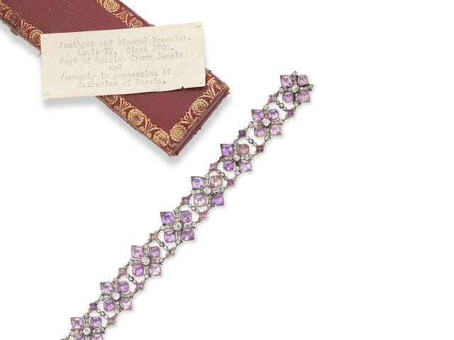 A rare 18th century amethyst and diamond bracelet