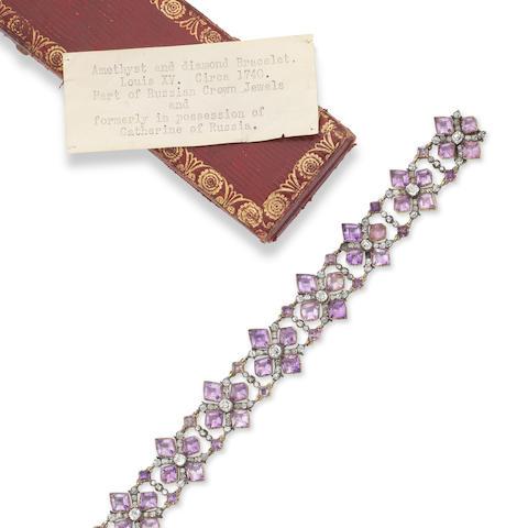 A rare 18th century amethyst and diamond bracelet