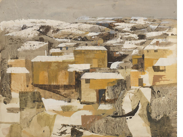 Keith Vaughan (British, 1912-1977) Pickering Under Snow 22.8 x 29.5 cm. (9 x 11 5/8 in.)