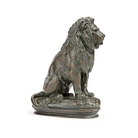 Antoine-Louis Barye, French (1796-1875) A bronze model of the Seated Lion