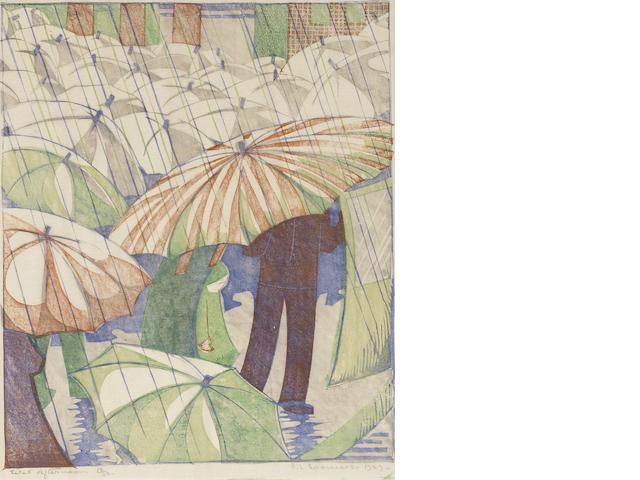 Ethel Spowers (Australian, 1890-1947) Wet Afternoon Linocut printed in grey, reddish brown, emerald green and cobalt blue, 1929, a good impression, on buff oriental laid, signed, titled dated and numbered 13/50 in pencil, with margins, 238 x 203mm (9 3/8 x 8in)(B)