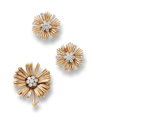 A diamond brooch and earring suite, by Van Cleef & Arpels, (2)