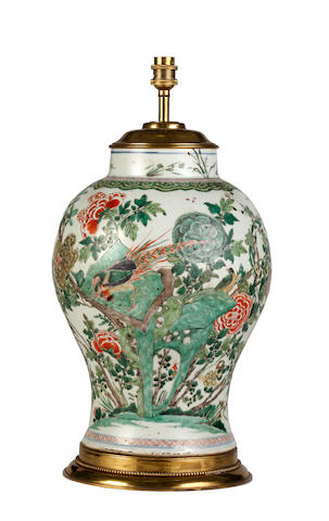 An 18th Century Chinese famille verte baluster vase