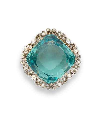 An aquamarine and diamond brooch/pendant,