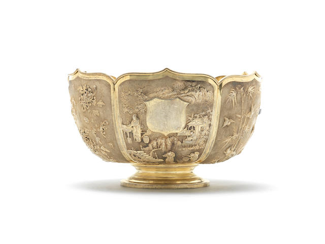 A large silver-gilt presentation bowl Late 19th century, two-character 'Yu' ji, Shanghai and Zeewo marks