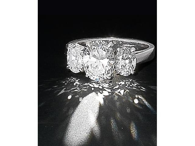 A diamond three-stone ring