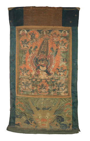 A large Tibetan thangka  17th century