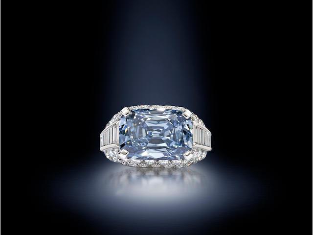 An important fancy deep-blue diamond 'Trombino' ring,
