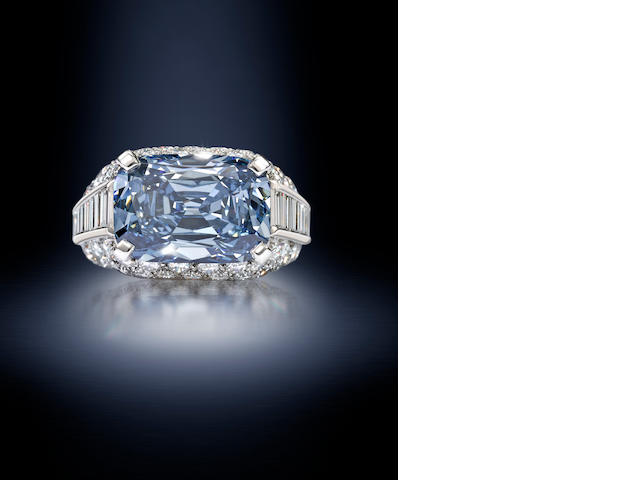 An important fancy deep-blue diamond 'Trombino' ring,
