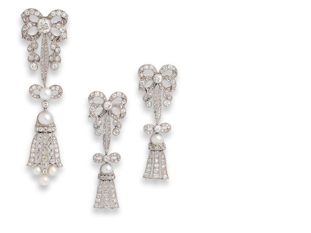 A pearl and diamond brooch and earring suite, (2)