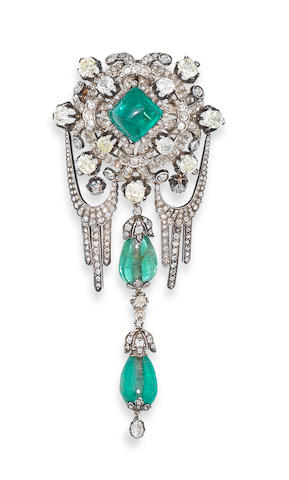 An emerald and diamond corsage ornament, possibly Russian,
