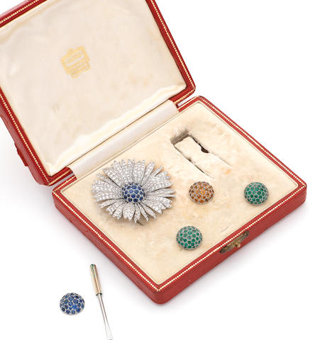 A diamond and sapphire flower brooch with interchangeable gem-set stamens, (5)