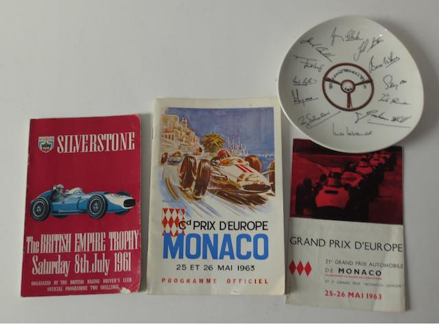 A 1961 Silverstone British Empire Trophy Race programme signed by various drivers,