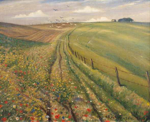 Christopher Richard Wynne Nevinson A.R.A. (British, 1889-1946) On the Downs 40.6 x 60.8 cm. (16 x 20 in.)