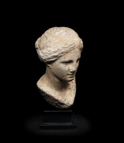 A Greek marble bust of a goddess