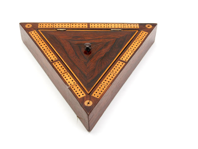 A Victorian rosewood cribbage board