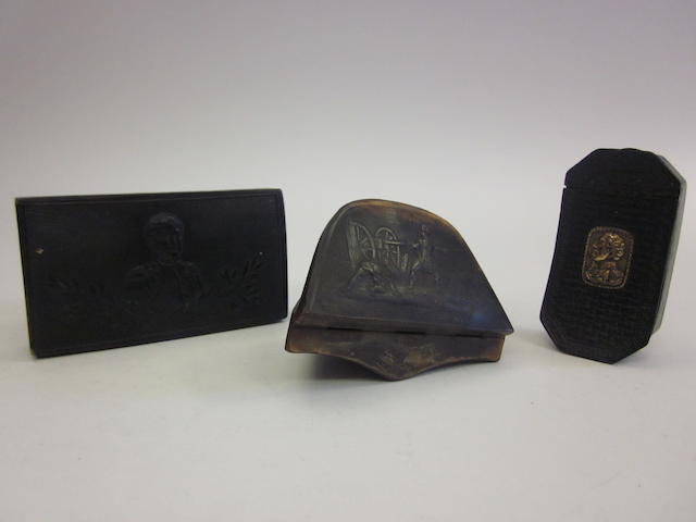 A 19th century horn snuff box in the form of Napoleon's hat, together with two further examples (3)