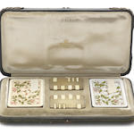 "A Victorian cased silver and ivory ""Tom Thumb"" whist marker set the whist markers by John Millward Banks, London 1897  (2)"