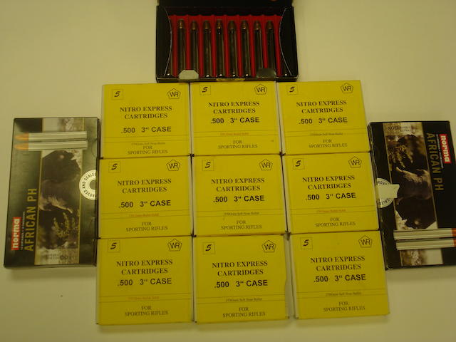 A quantity of .500 (NE) ammunition (Twelve boxes)