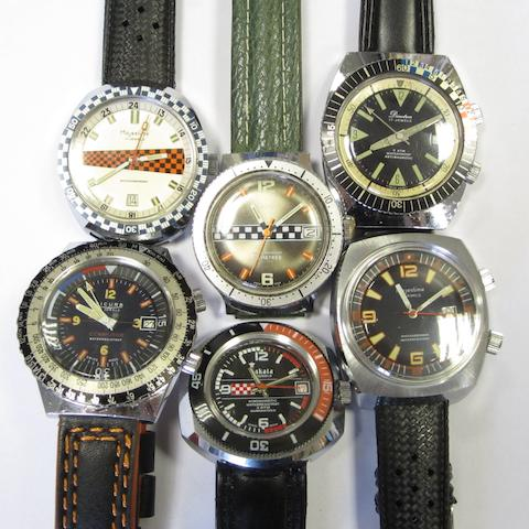 A lot of six manual wind calendar motoring themed wristwatches