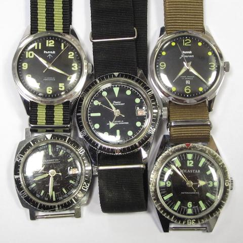 A lot of five manual wind wristwatches