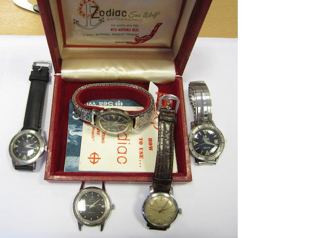 A lot of five Zodiac watches