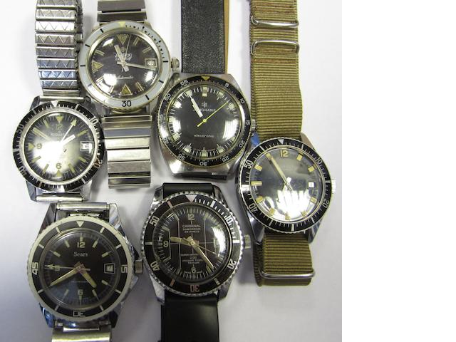 A lot of six dive dive watches with rotating bezels