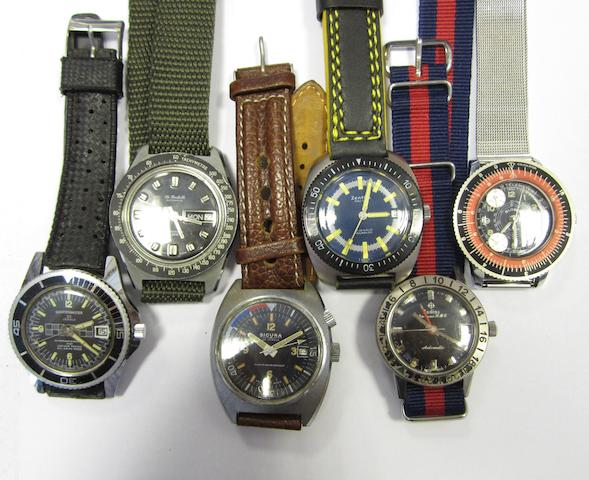 A lot of six wristwatches
