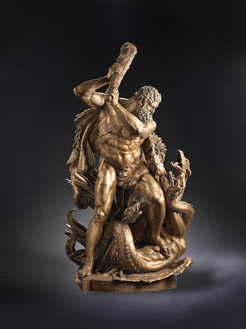 An impressive German late 19th century patinated bronze group of Hercules and the Hydraafter Edmund Hofmann von Aspernburg (1847 - 1930)