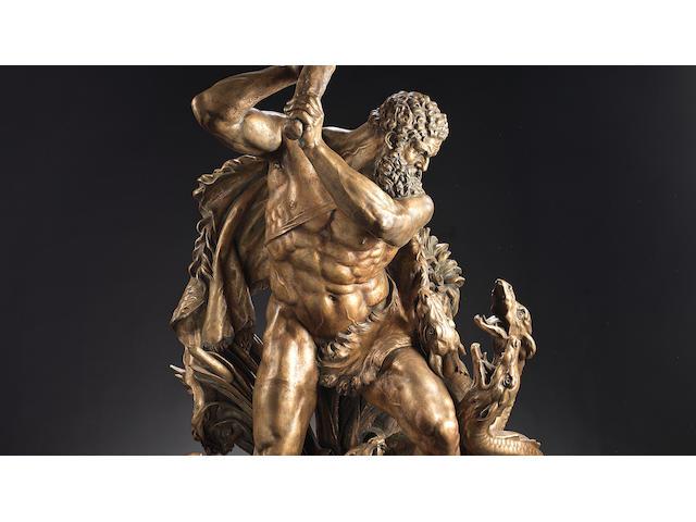 An impressive German late 19th century patinated bronze group of Hercules and the Hydraafter Edmund Hofmann von Aspernburg (1847 - 1930)
