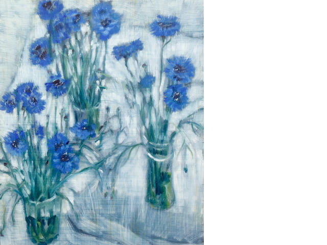 ENGLISH SCHOOL Cornflowers Oil on canvas<BR />74 x 60cm