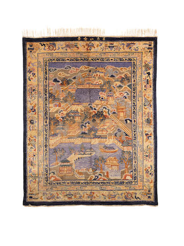 An unusual woven silk rectangular hanging carpet depicting the Summer Palace Late Qing Dynasty