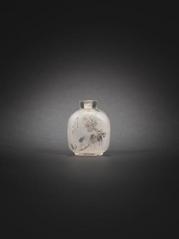 A rare inside-painted glass 'horse' snuff bottle Ding Erzhong, cyclically dated guimao year (AD1903)