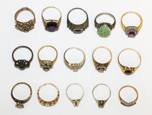 15 various gem set rings