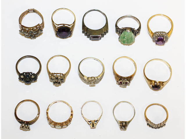 A colletcion of vari gem-set rings, (15)