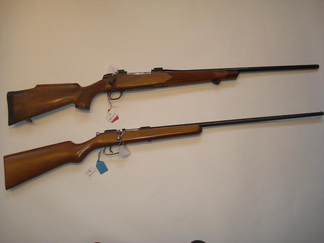 A .243 (Win) sporting rifle by B.S.A., no. 11R 4177;and a .410 bolt action shotgun, no.791862 (2)