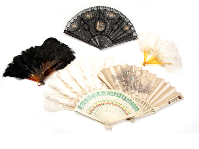 A selection of late 19th century 20th century fans
