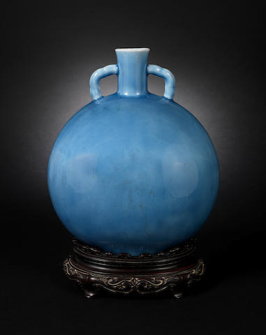 A lavender blue-glazed moon flask 19th or 20th century