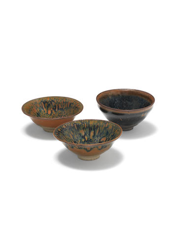 Two tortoiseshell-glazed bowls and one hare's-fur-glazed bowl  Song Dynasty