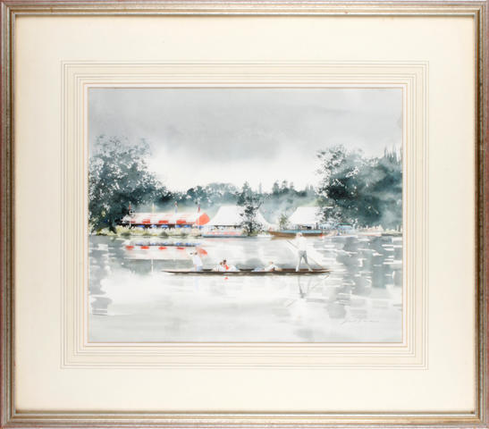 Janet Duncan (British, 1944-2010) Punting up to Henley