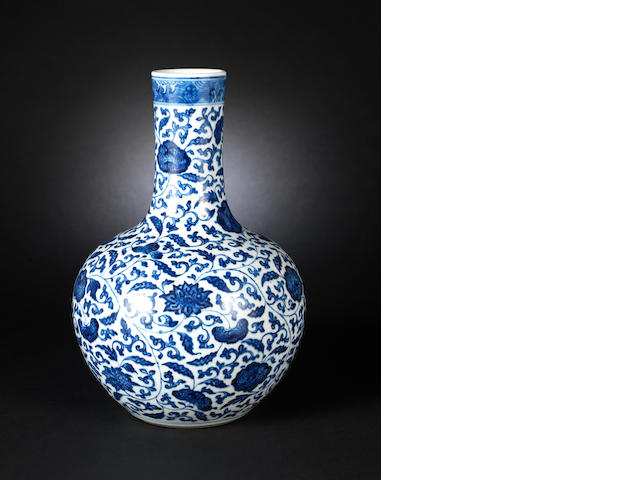 A blue and white vase, tianqiuping Probably 18th century