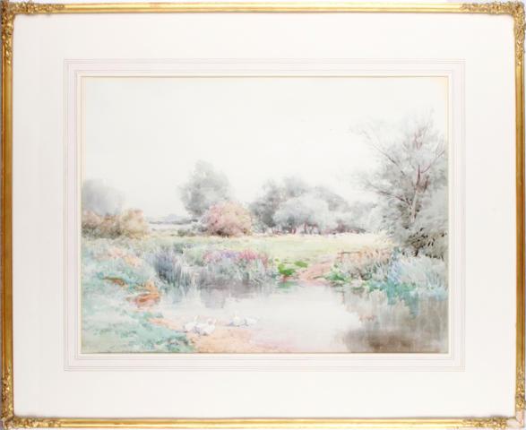 Henry John Sylvester Stannard, RBA (British, 1870-1951) Ducks in a landscape
