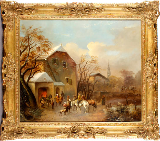Dutch School (19th century) Village scene