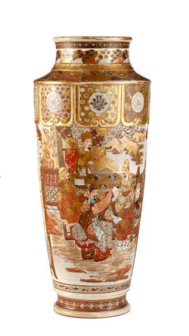 A large Japanese Satsuma vase, Meiji period