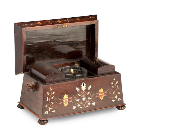 A Victorian rosewood, mother of pearl and brass inlaid tea caddy