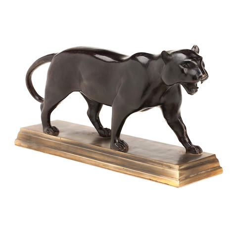 A bronze figure of a panther